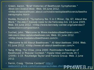 """Green, Aaron. """"Brief Histories of Beethoven Symphonies."""" About.com Cla"""