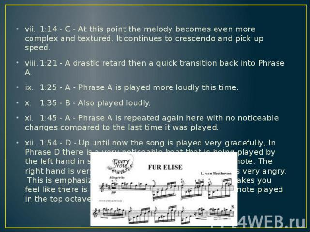 vii. 1:14 - C - At this point the melody becomes even more complex and textured. It continues to crescendo and pick up speed. vii. 1:14 - C - At this point the melody becomes even more complex and textured. It continues to crescendo and pick up spee…