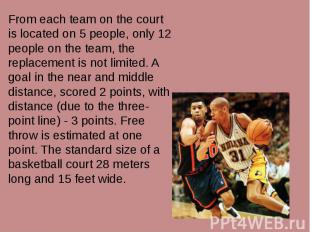 From each team on the court is located on 5 people, only 12 people on the team,