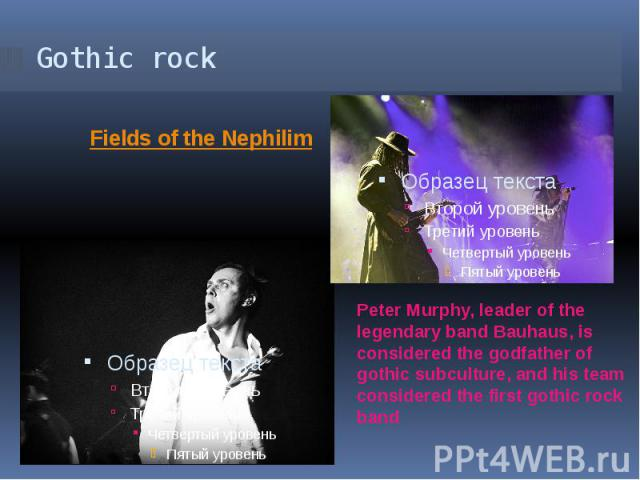 Gothic rock Peter Murphy, leader of the legendary band Bauhaus, is considered the godfather of gothic subculture, and his team considered the first gothic rock band