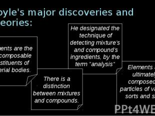 Boyle's major discoveries and theories: