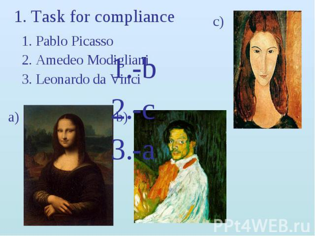 1. Task for compliance c)