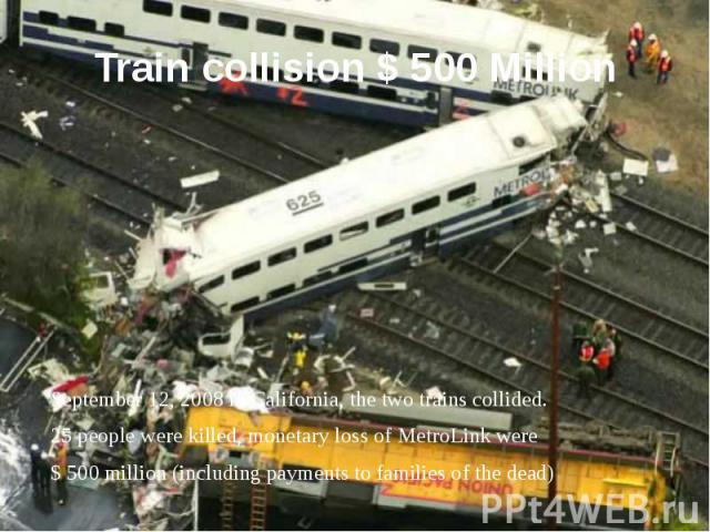 Train collision $ 500 Million September 12, 2008 in California, the two trains collided. 25 people were killed, monetary loss of MetroLink were $ 500 million (including payments to families of the dead)