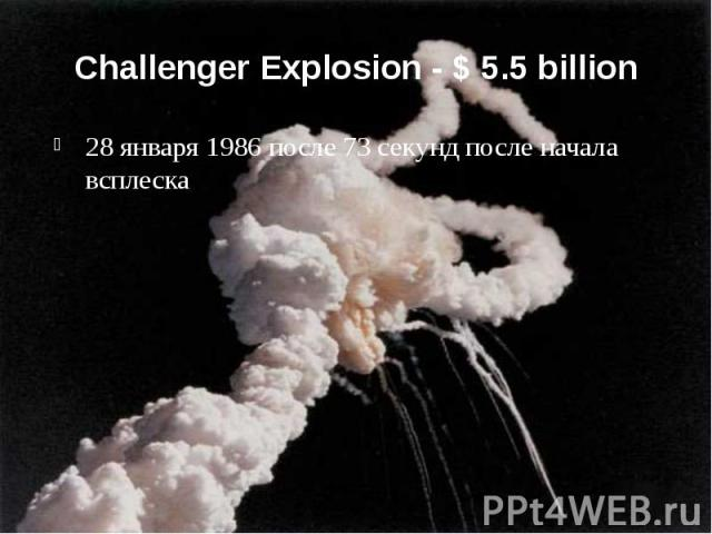 Challenger Explosion - $ 5.5 billion 28 января 1986 после 73 секунд после начала всплеска