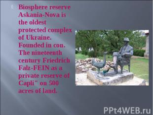 Biosphere reserve Askania-Nova is the oldest protected complex of Ukraine. Found