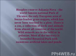 Biosphre reserve Askania-Nova - the world famous national Park of Ukraine, the o