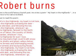 """Robert burns Robert Burns is the world famous Scotish poet. He wrote a poem """" My"""