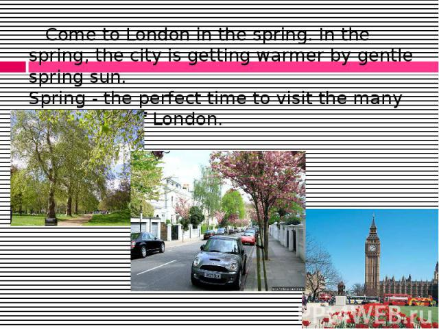 Come to London in the spring. In the spring, the city is getting warmer by gentle spring sun. Spring - the perfect time to visit the many attractions of London. Come to London in the spring. In the spring, the city is getting warmer by gentle spring…