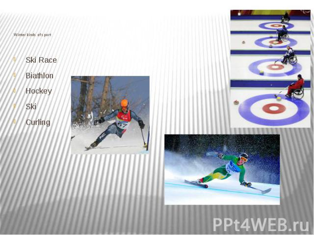 Winter kinds of sport Ski Race Biathlon Hockey Ski Curling