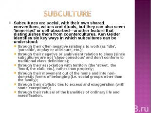 Subcultures are social, with their own shared conventions, values and rituals, b