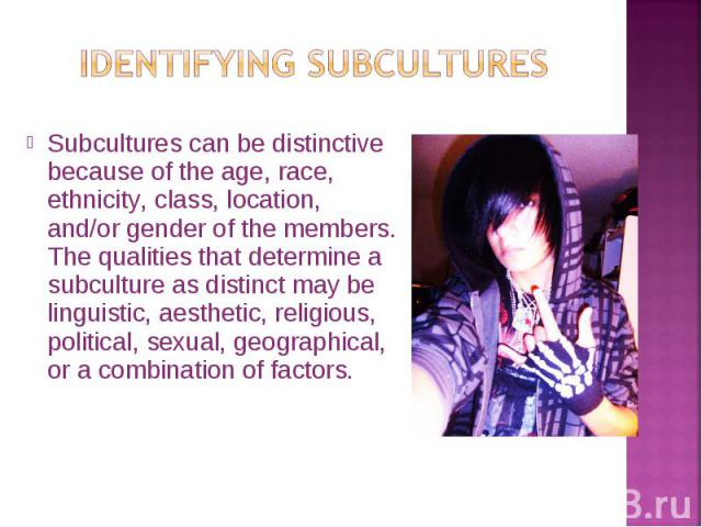 Subcultures can be distinctive because of the age, race, ethnicity, class, location, and/or gender of the members. The qualities that determine a subculture as distinct may be linguistic, aesthetic, religious, political, sexual, geographical, or a c…