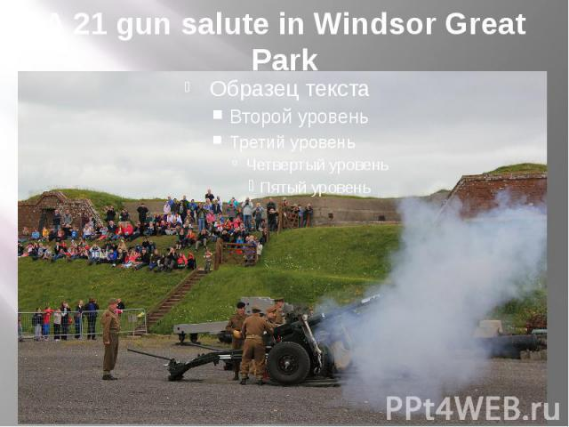 A 21 gun salute in Windsor Great Park