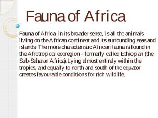 Fauna of Africa Fauna of Africa, in its broader sense, is all the animals living