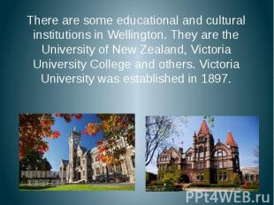 There are some educational and cultural institutions in Wellington. They are the