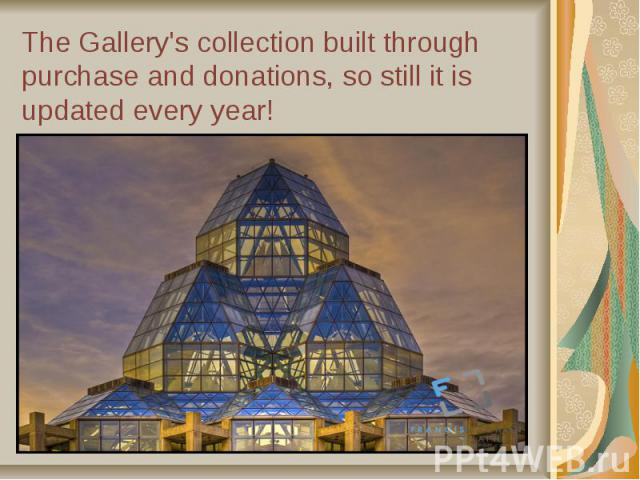 The Gallery's collection built through purchase and donations, so still it is updated every year!