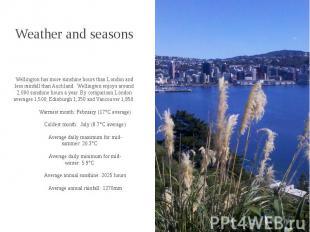 Weather and seasons Wellington has more sunshine hours than London and less rain