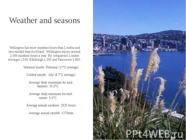Weather and seasons Wellington has more sunshine hours than London and less rainfall than Auckland. Wellington enjoys around 2,000 sunshine hours a year. By comparison London averages 1,500, Edinburgh 1,350 and Vancouver 1,850. Warmest month:&…
