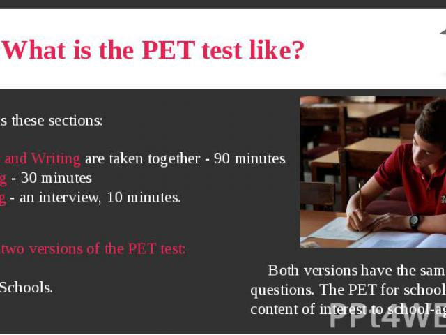 What is the PET test like?