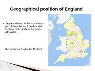 Geographical position of England
