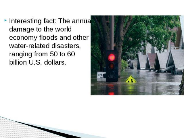 Interesting fact: The annual damage to the world economy floods and other water-related disasters, ranging from 50 to 60 billion U.S. dollars.