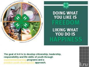 The goal of 4-H is to develop citizenship, leadership, responsibility and life s