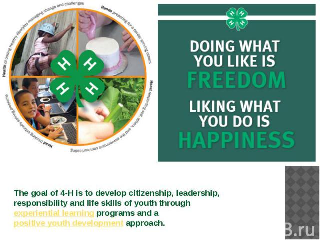 The goal of 4-H is to develop citizenship, leadership, responsibility and life skills of youth throughexperiential learningprograms and apositive youth developmentapproach.