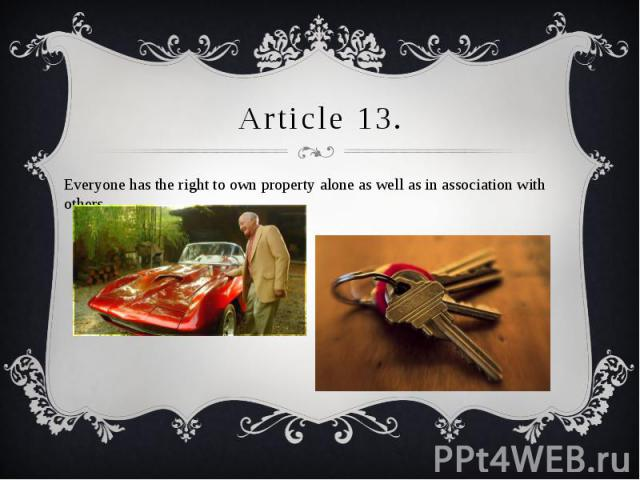 Article 13. Everyone has the right to own property alone as well as in association with others.