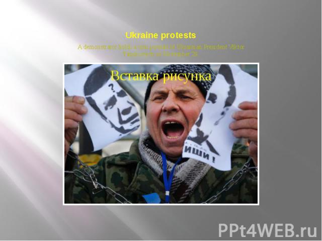 Ukraine protests A demonstrator holds a torn portrait of Ukrainian President Viktor Yanukovych on November 29.