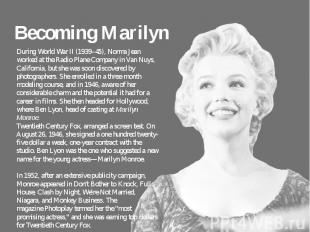 Becoming Marilyn