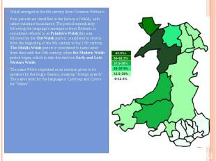 Welsh emerged in the 6th century from Common Brittonic. Four periods are identif