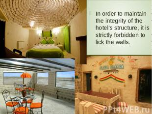 In order to maintain the integrity of the hotel's structure, it is strictly forb