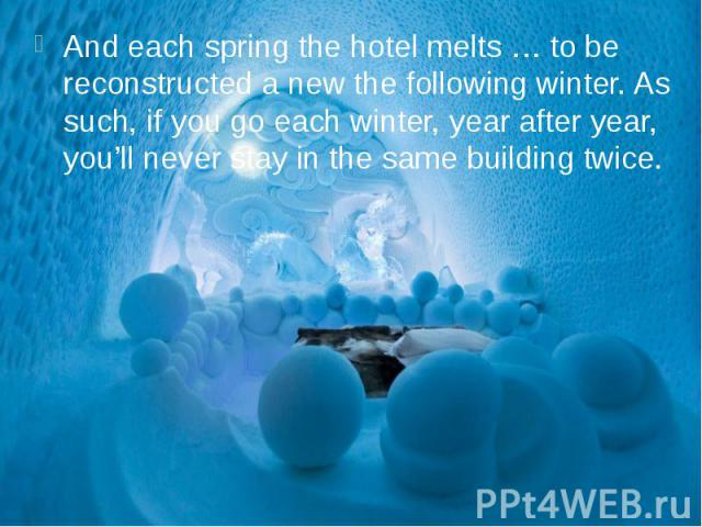 And each spring the hotel melts … to be reconstructed a new the following winter. As such, if you go each winter, year after year, you'll never stay in the same building twice. And each spring the hotel melts … to be reconstructed a new the followin…