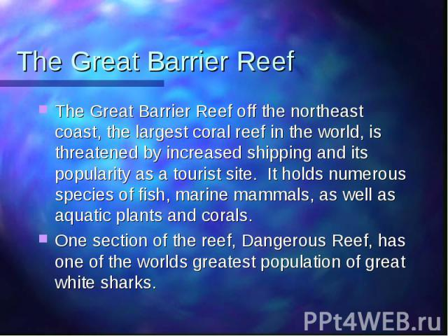 The Great Barrier Reef The Great Barrier Reef off the northeast coast, the largest coral reef in the world, is threatened by increased shipping and its popularity as a tourist site. It holds numerous species of fish, marine mammals, as well as aquat…