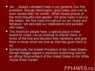 We ... always cultivated roses in our gardens. Our first president, George Washi