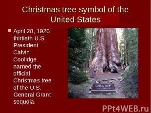 Christmas tree symbol of the United States April 28, 1926 thirtieth U.S. Preside