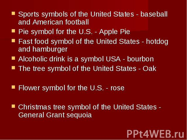 Sports symbols of the United States - baseball and American football Sports symbols of the United States - baseball and American football Pie symbol for the U.S. - Apple Pie Fast food symbol of the United States - hotdog and hamburger Alcoholic drin…