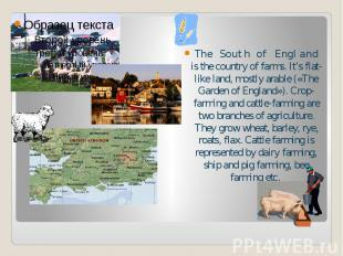 The South of England is the country of farms. It's flat-like land, mostly arable