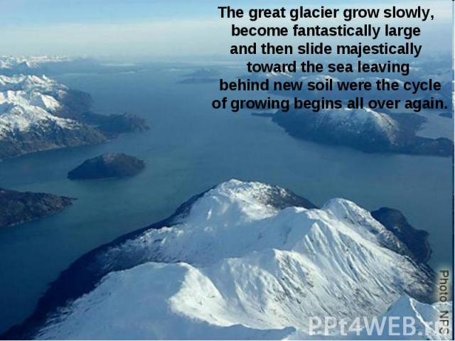 The great glacier grow slowly, become fantastically large and then slide majestically toward the sea leaving behind new soil were the cycle of growing begins all over again.