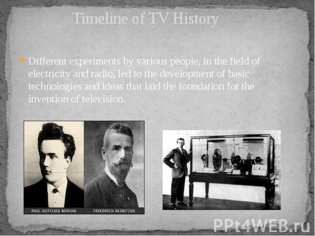 Timeline of TV History  Different experiments by various people, in the field of electricity and radio, led to the development of basic technologies and ideas that laid the foundation for the invention of television.