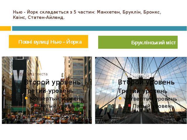Нью - Йорк складається з 5 частин: Манхетен, Бруклін, Бронкс, Квінс, Статен-Айленд. Повні вулиці Нью – Йорка