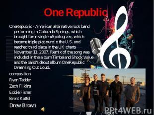 OneRepublic - American alternative rock band performing in Colorado Springs, whi