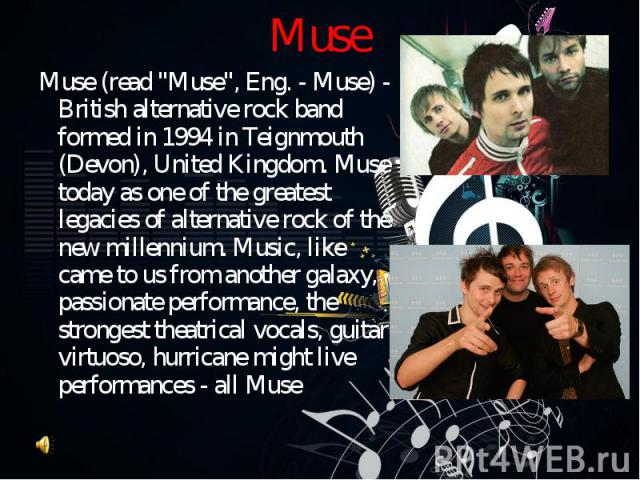 """Muse (read """"Muse"""", Eng. - Muse) - British alternative rock band formed in 1994 in Teignmouth (Devon), United Kingdom. Muse today as one of the greatest legacies of alternative rock of the new millennium. Music, like came to us from another…"""