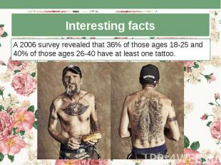 Interesting facts A 2006 survey revealed that 36% of those ages 18-25 and 40% of