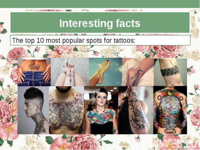Interesting facts The top 10 most popular spots for tattoos: