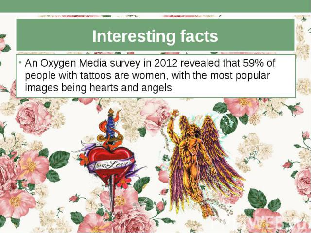 Interesting facts An Oxygen Media survey in 2012 revealed that 59% of people with tattoos are women, with the most popular images being hearts and angels.