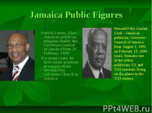 Jamaica Public Figures Patrick Linton Allen - Jamaican politician, religious lea