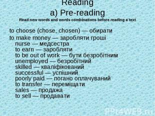 Reading a) Pre-reading Read new words and words combinations before reading a te