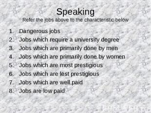 Speaking Refer the jobs above to the characteristic below Dangerous jobs Jobs wh