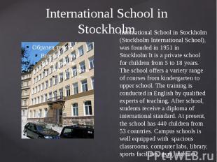 International School in Stockholm International School in Stockholm (Stockholm I