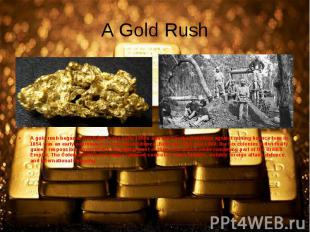 A gold rush began in Australia in the early 1850s and the Eureka Rebellion again